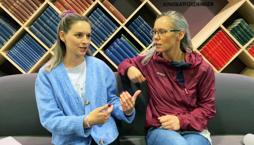 Isabelle Aarvik og Gro Anita Sakstad besøkte Advokatforeningen onsdag formiddag for å snakke om sin erfaring med isolasjon i fengsel.