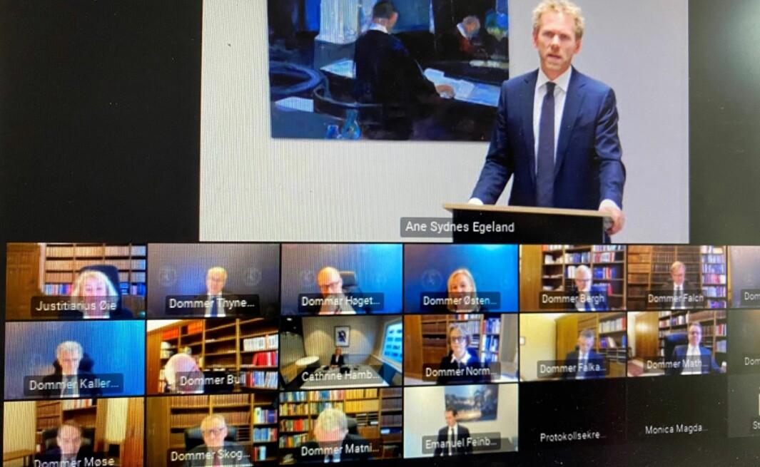 Fredrik Sejersted talte på vegne av staten.