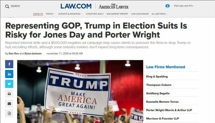 Law.com er et amerikansk nettsted som skriver om advokater og juss.