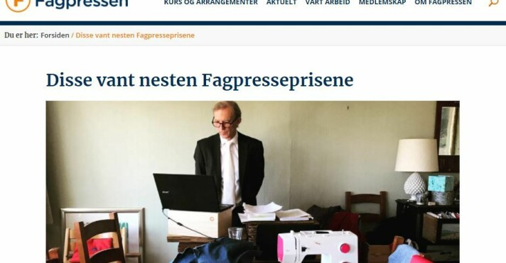 Fagpressen illustrerer mediene som mottok hederlig omtale med bildet av advokat Frode Sulland som prosederte i Høyesterett hjemme fra stuebordet.