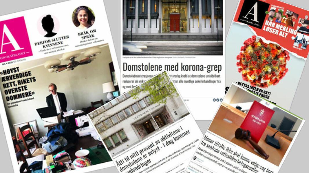 Et lite utvalg av Advokatbladets artikler om koronapandemiens betydning for domstolene og rettssikkerheten.