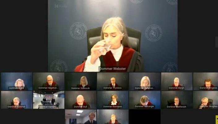 Dommer Bergljot Webster var annenvoterende, og tok dissens i spørsmålet om saksbehandlingsfeil.