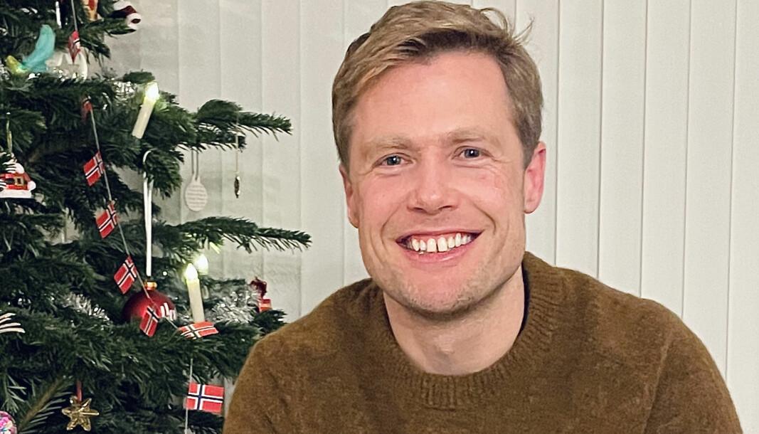 Rune Opdahl feirer jul med familien i Mjøndalen.