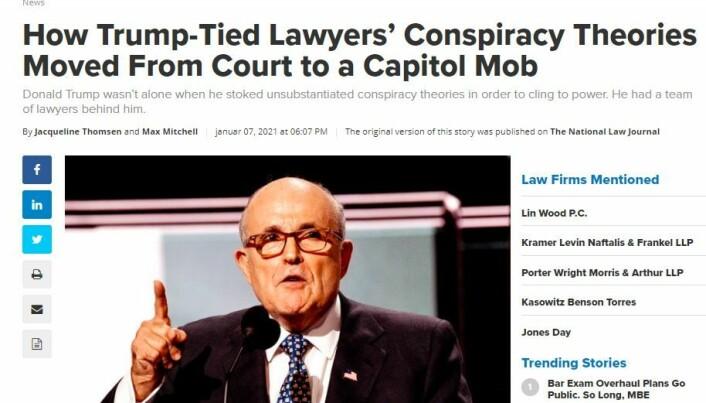 Faksimile fra Law.com, som har hentet artikkelen fra The National Law Journal.