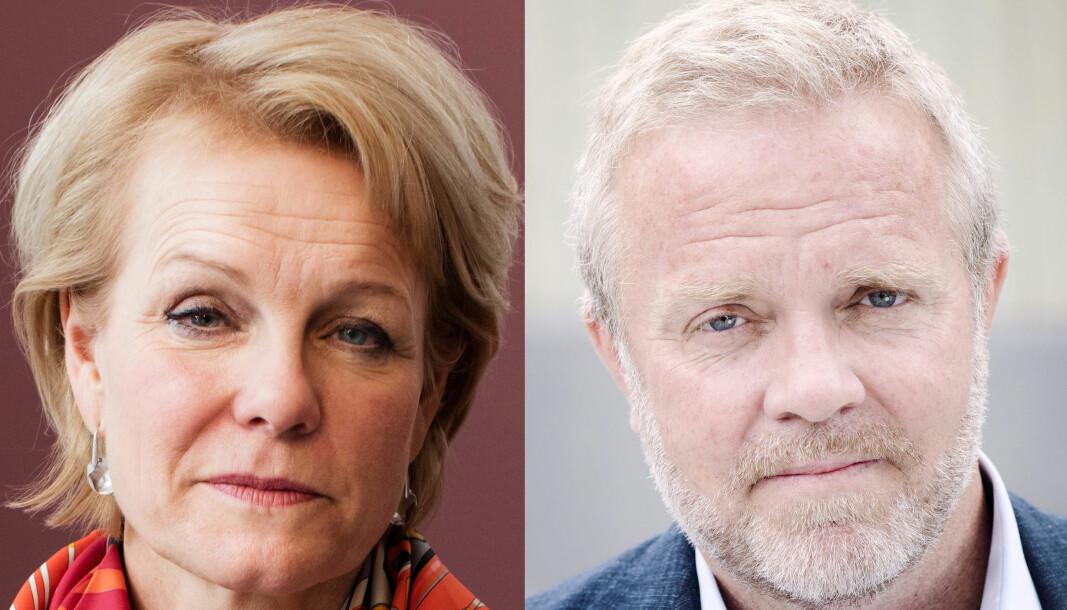 Merete Smith og Jon Wessel-Aas, henholdsvis generalsekretær og leder av Advokatforeningen.