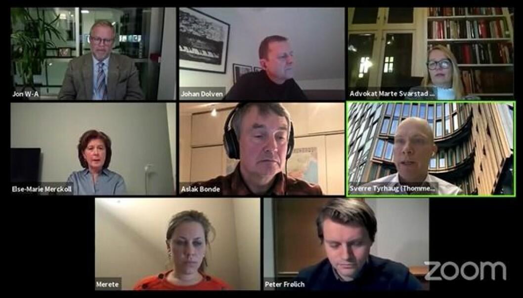 Jon Wessel-Aas, Johan Dolven, Marte Svarstad Brodtkorb, Else-Marie Merckoll, Sverre Tyrhaug, Merete Nygaard og Peter Frølich deltok i en debatt onsdag kveld om eksternt eierskap. Journalist Aslak Bonde ledet debatten.