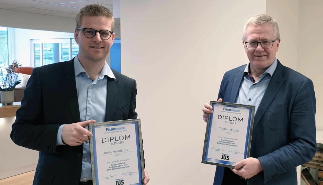 Jens-Henrik Lien og Steinar Mageli mottok torsdag denne uken beviset på at de er vinner av kategorien Årets juridiske prestasjon.