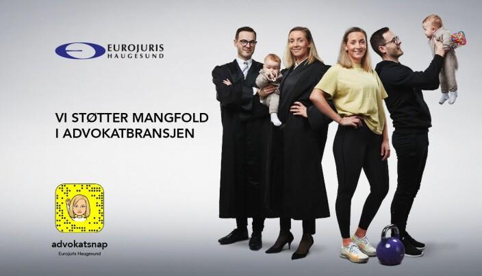 Med dette kampanjebildet skal Eurojuris Haugesund fremme sitt likestillingsengasjement 8.mars. Modeller for anledningen er advokatene Sandra Dueland (og hennes barn) og Anders Gustavsen.