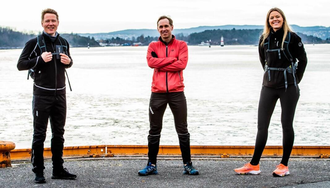 Brækhus-mp Frank Aase, treningscoach Mads Kaggestad og markedssjef Marthe Horne slår et slag for fysisk aktivitet.