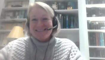 Alison Hook da hun deltok i paneldebatt arrangert av Oslo krets i januar.