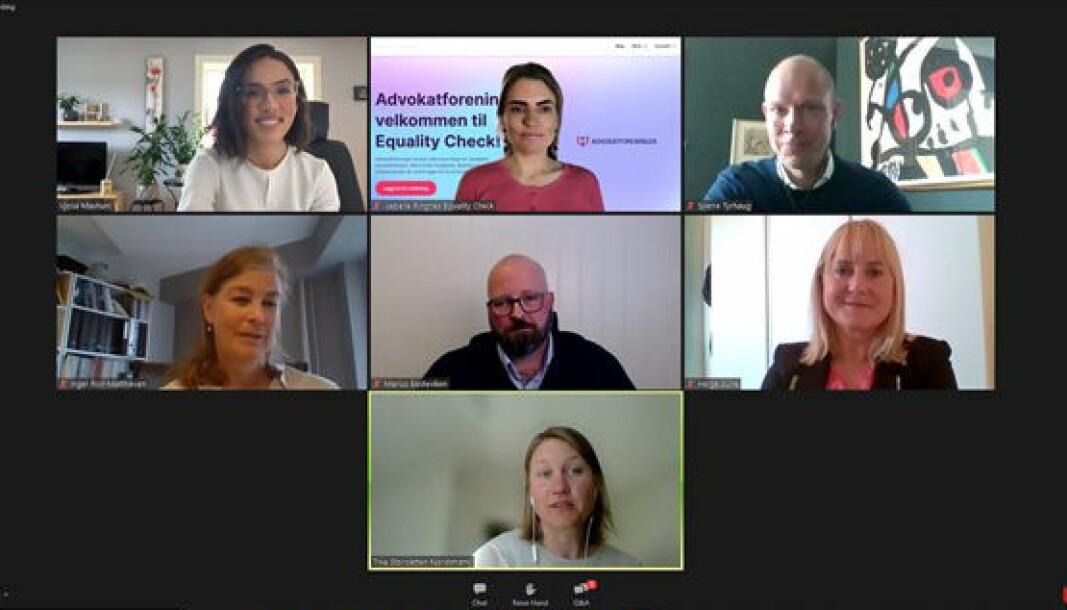 Vjosa Maxhuni, Isabelle Ringnes, Sverre Tyrhaug, Inger Roll-Matthiesen, Marius Basteviken, Helga Aune og Tina Storsletten Nordstrøm møttes for digital mangfoldsdebatt tirsdag ettermiddag.