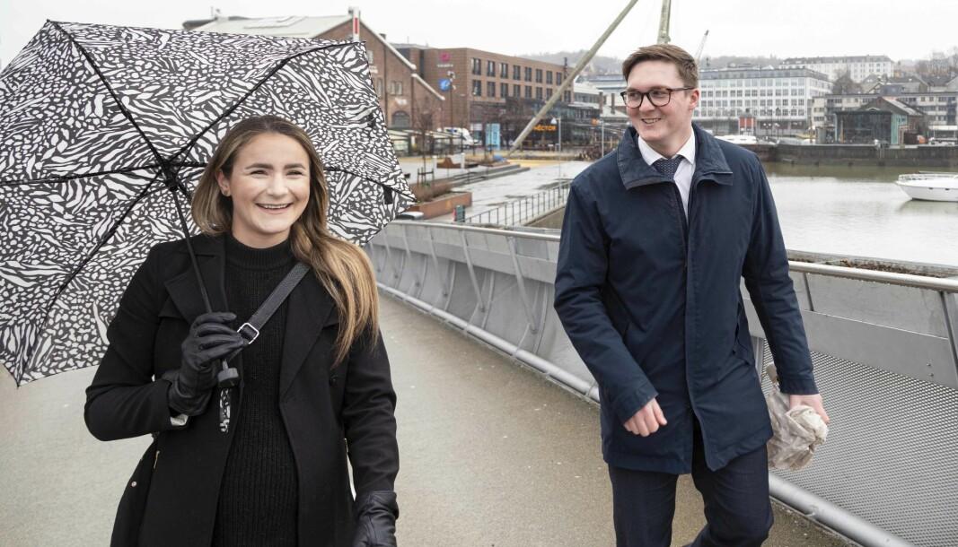 Thomas Hoff Myhr og June Falk-Larssen ser frem til å kunne ønske yngre advokater i Trøndelag velkommen til sosiale samlinger.