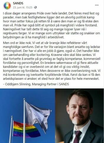 Managing partner i SANDS, Oddbjørn Slinning, skriver om Pride-feiringen på firmaets Facebook-side.