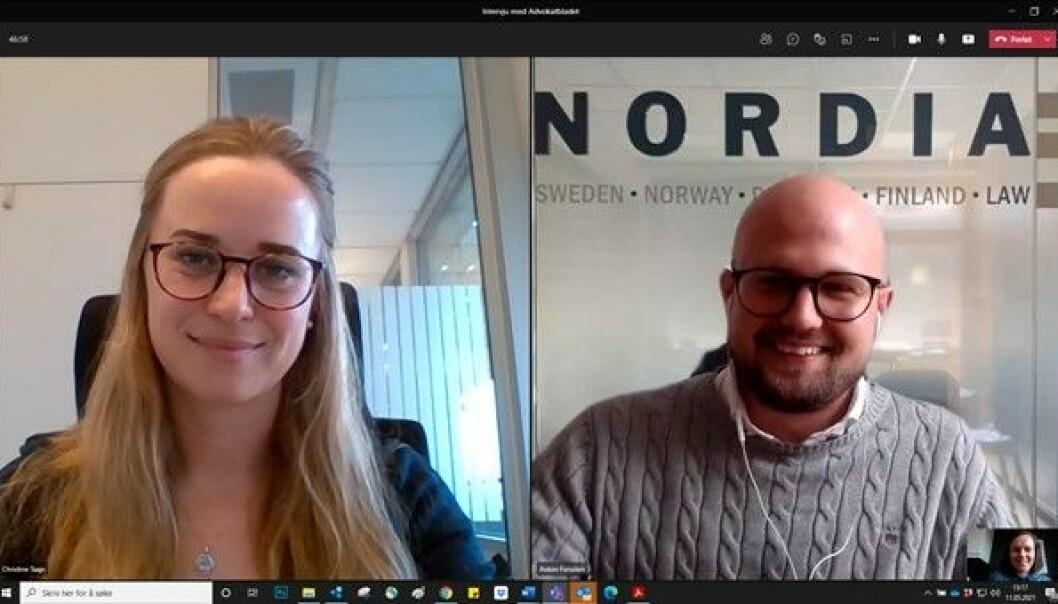 Christine Taaje og Anton Forssten sitter i styret i Yngre Advokater.