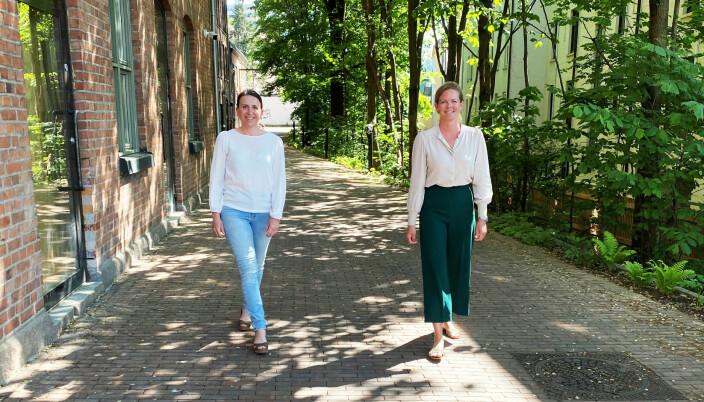 Mekle.no er en del av et kontorfellesskap i en tidligere fabrikkbygning på Tøyen i Oslo, men gjør alle meklinger digitalt, forteller Siri Horn og Angela Askjer.