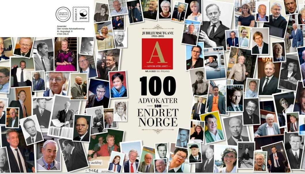 For anledningen kommer Advokatbladets forside med utbrett. Alle de 100 omtalte advokatene er avbildet.