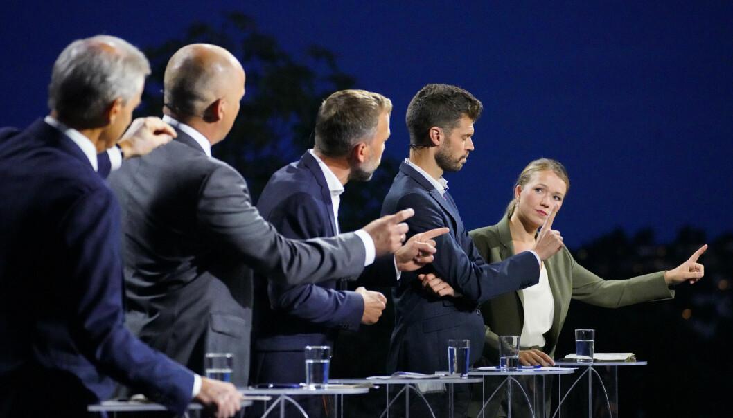Mandag er det stortingsvalg, og Advokatbladet har sjekket de ulike partienes justispolitikk. Her fra partilederdebatten under Arendalsuka.