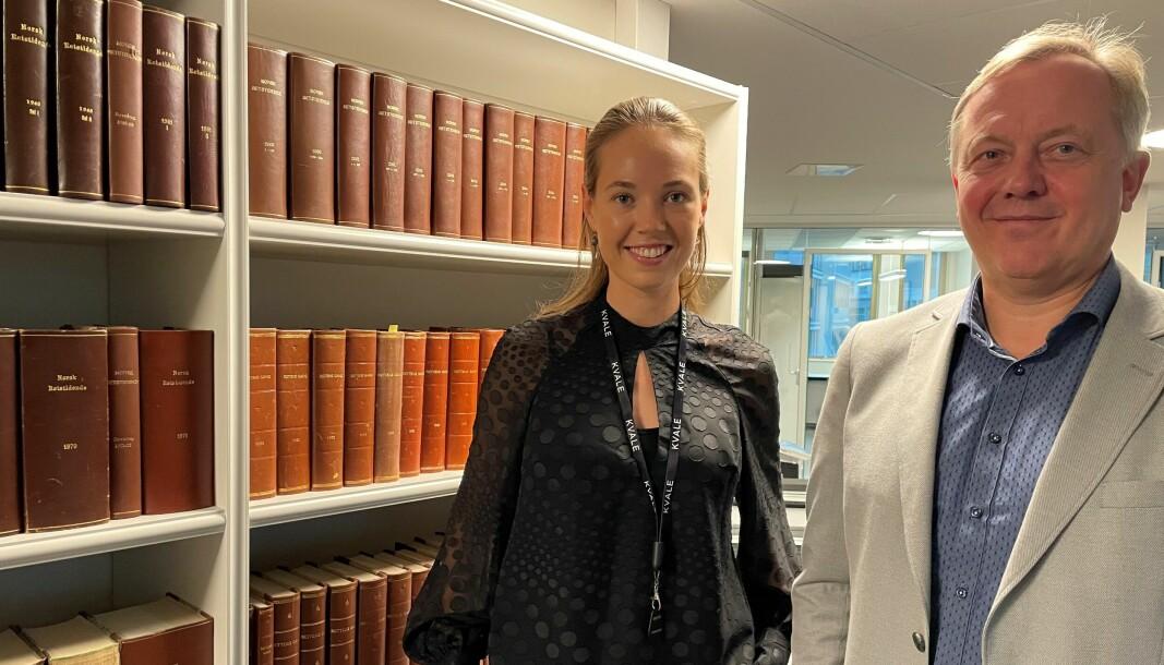 Advokatfullmektig i Kvale Julie W. Hegdahl og partner Nicolay Skarning.