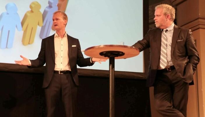Hans Fredrik Marthinussen og Jon Wessel-Aas i debatt på Rettssikkerhetskonferansen.