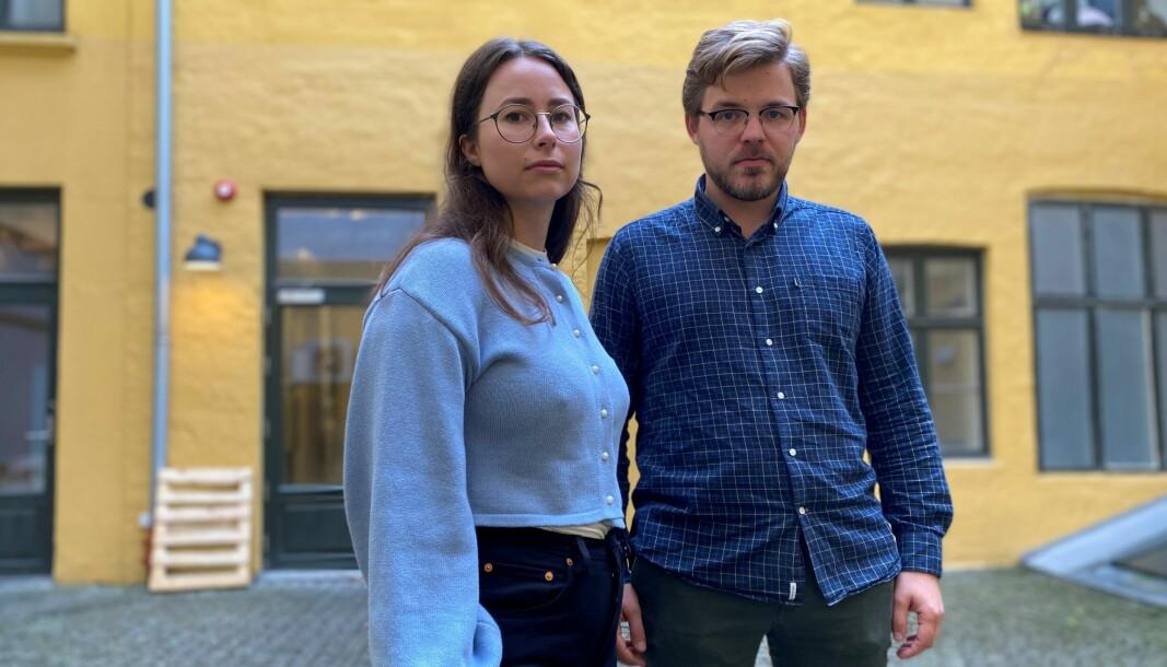 JURK- og Jussbuss-lederne Bjørk Jonassen og Ole Martin Juul Slyngstadli fortviler over byrådets budsjettkutt-forslag.