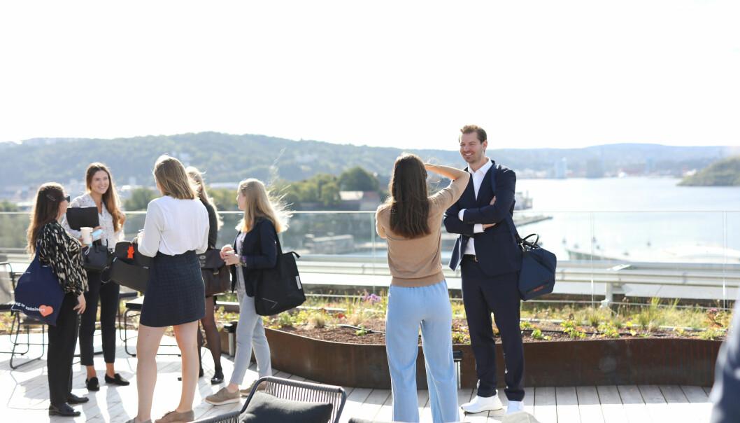 Lite å si på utsikten fra Thommessens nye takterrasse i Oslo.