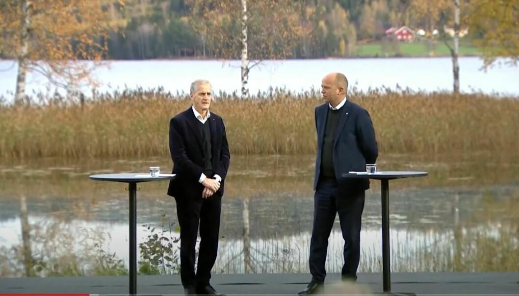 Påtroppende statsminister Jonas Gahr Støre og Sp-leder Trygve Slagsvold Vedum la frem sin regjeringsplattform i Hurdal 13. oktober.